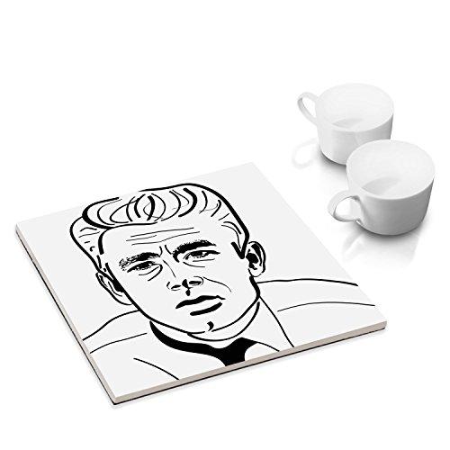 James Dean Schauspieler (designersgroup - Keramik-Untersetzer mit Filzuntersatz für Esstisch und Küche - 15 x 15 cm - Wandbild bekannte Schauspieler: James Dean)
