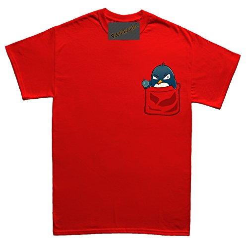 Renowned Penguin with attitude in my pocket Unisex - Kinder T Shirt Rot