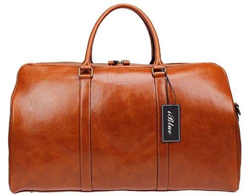 Iblue echtes Leder-Geschäft über Nacht Spielraum-Kleid-Gym-Einkaufstasche 56cm # D-013