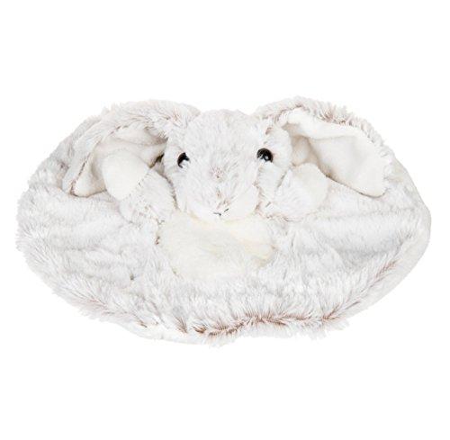 Histoire d'ours - Peluches et Doudous - Doudou plat Lapin - Blanc chiné marron - Collection : Studio - Peluche bébé 28 cm - Genre : fille ou garçon