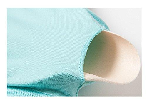 Weelly Underwear Soutien Gorge de Sport Brassière Uni Femme Bleu