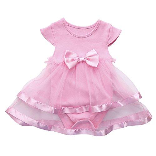 inkind KappenhüLse Sommer Mesh Patchwork Kleiden Party Hochzeit Abendkleid Tutu Bogen Kleidung Overall Prinzessin Spielanzug Kleid(Rosa,12M) ()