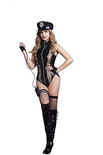 Damen 6 Teilig Dessous Set Wetlook Bodysuit Catsuit Baby Dolls Polizei Polizist Kostüm Uniform Reizwäsche Lingerie Nachtwäsche Cosplay Club Wear mit Polizeimütze und Polizei (Weiblich Polizist Halloween Kostüm)