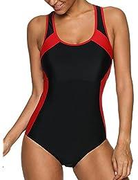 Charmo Damen Badeanzug Einteiliger Schwimmanzug Vorgeformte BH-Cups  Essential mit Bein aa4bf89b78