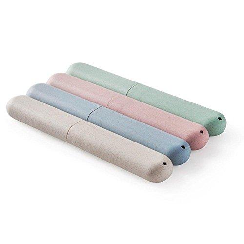 BlueBeach® 2 PCS Respectueux de l'environnement blé paille voyage brosse à dents titulaire coloré Housse Etui (Couleur Aléatoire)