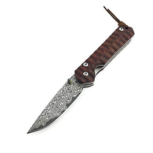 AUBEY Damast Taschenmesser Klappmesser VG10 Damaststahl Messer Holzgriff Outdoor Damastmesser Folder Knife, 7 cm Klinge