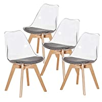 H.J WeDoo Set of 4 Tulip Dining Chairs Scandinavian Transparent Chairs Wood Office Chair With Solid Wood Legs Grey Fabric Cushion (Transparent)