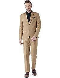 c2ee3d42c07 Dressvip Costume Homme Père pour Cérémonie de Mariage 2018 Couleur Unie  Brun 2 Pièces Veste Pantalons