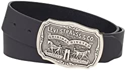 Levis Mens Vegetable Leather Belt, Black, 36