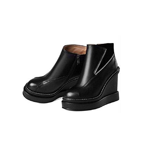 YYH Vera pelle donna stivaletti scarpe tondo Stivaletto in pelle impermeabile con . black . 37