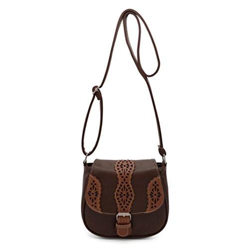Transer Women Shoulder Bag Popular Girls Hand Bag Ladies PU Leather Handbag, Borsa a spalla donna Green 20cm(L)*18(H)*8cm(W) Brown