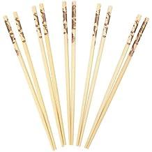 Swift - Juego de palillos chinos (bambú, 10 unidades), diseño de dragón