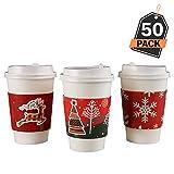 Kompanion 50 Stück 12oz Einweg Weihnachten Design Kaffeebecher mit Deckel und Ärmel