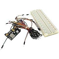 junkai 3 en 1 Kit MB 102 Kit de Placa de Pruebas Breadboard + Adaptador de Fuente de alimentación 3.3V 5V + 60pcs Cables de Puente