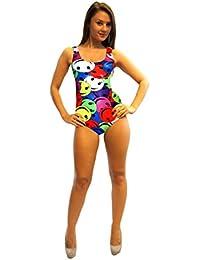 Smiley Faces Print Swimsuit Bodysuit Leotard