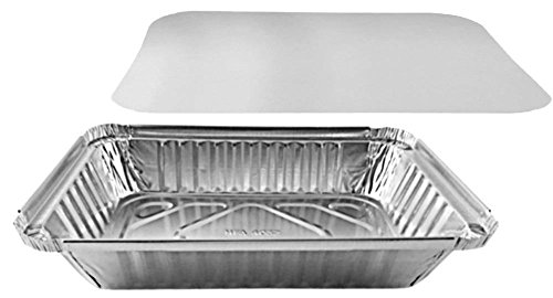 pactogo 2lb. länglichen Aluminium Folie Take-Out Pfanne mit Board Deckel Einweg Container 21,4x 15,1x 4,4cm 2 Take Out Container
