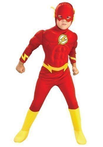 Offiziell Jungen The Flash Deluxe Muskel Brust Superheld büchertag Kostüm verkleiden Outfit 1-10 Jahre – Rot, Rot, 3-4 Years