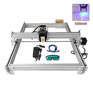 HUKOER Graviermaschinenset, Desktop 12V USB Lasergravurmaschine Gravur, Gravierfläche 400X500mm, einstellbar Laser Power Drucker Gravur und Schneidebrille (5500MW)