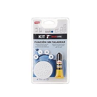 TATAY 4489901 – Kit de adhesivo + bases para fijación sin taladro de armarios de baño Tatay