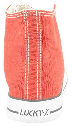 Elara Unisex Kult Sneaker | Bequeme Sportschuhe für Damen und Herren | High top Textil Schuhe 36-47 Rot