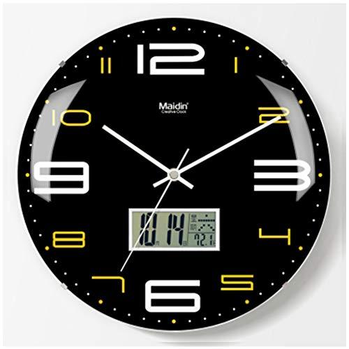 HBWJSH Wanduhr nach Hause große Wanddiagramme Wohnzimmer randlose Oberfläche stille Uhren einfache elektronische Quarz Uhr Flut (Farbe : 2) -