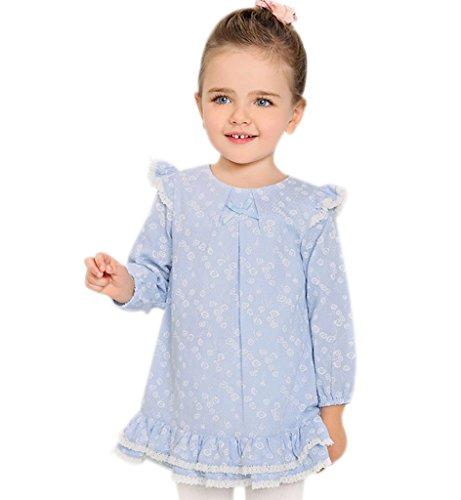 Surenow Vestito da Bambina in Cotone Manica Lunga Vestiti Abiti