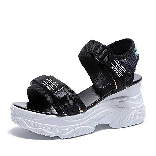 Uhrtimee 2019 Sommer Neue beiläufige koreanische Mode Tuch Klettverschluss Sport Wind Sandalen Frauen offene zehe, 39, schwarz Faux Peep Toe