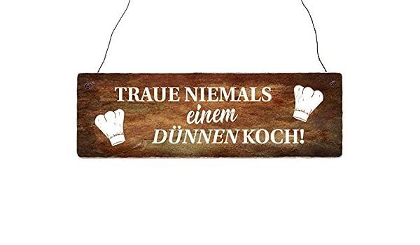 Holzschild Shabby TRAUE NIEMALS EINEM DÜNNEN KOCH Küche lustig Deko Restaurant