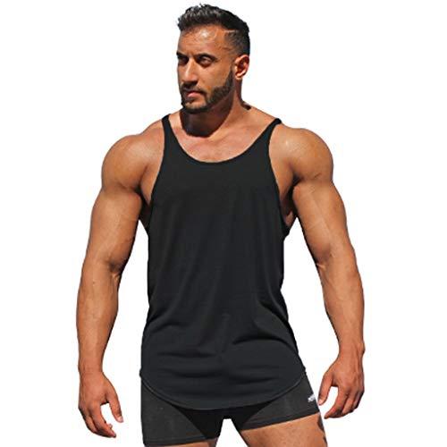 Lazzgirl Sleeveless Hemd-Trägershirt-Bodybuilding-Sport-Fitness-Trainings-Weste der Art- und Weisemannes(Schwarz,X-Large,Polyester) - Loose Gear Sleeveless