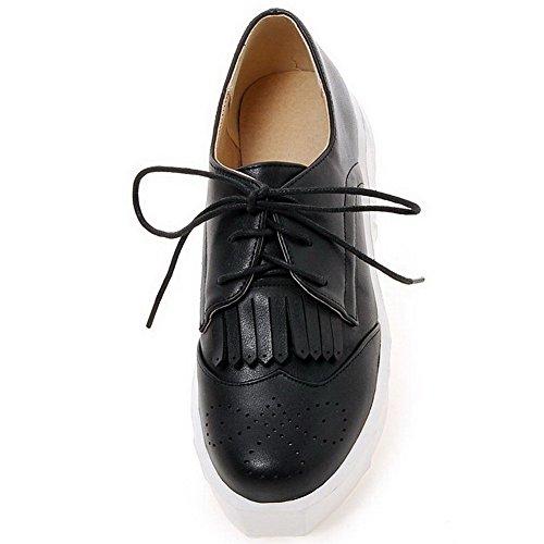 AllhqFashion Damen Weiches Material Rund Zehe Mittler Absatz Schnüren Rein Pumps Schuhe Schwarz 4kOlF1m
