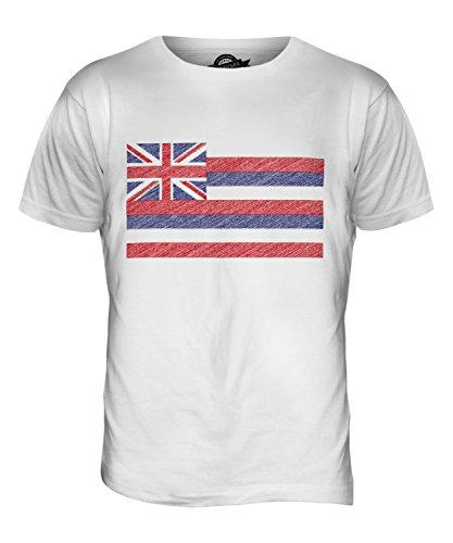 CandyMix Bundesstaat Hawaii Kritzelte Flagge Herren T Shirt Weiß