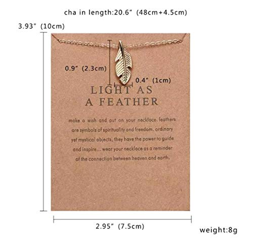 SKAN Chain Charms Necklaces Light As A Feather Make A Wish This Valentines Day Card Women Jewellery Gift