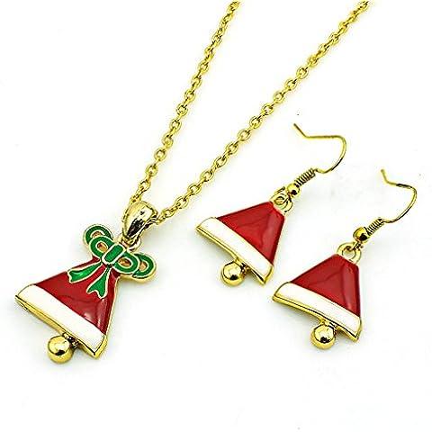 AnaZoz Joyería de Moda Juegos de Joyas de Mujer Aleación Campana Pendientes Collar de Navidad Collar y Pendientes Dos Piezas Juegos de Joyas Color Rojo Blanco y Oro Para Regalo Navidad