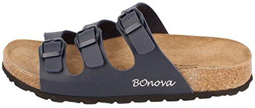 BOnova® Menorca Pantoletten in 7 Farben für Damen, Hausschuhe mit Korkfußbett - HANDMADE IN SPAIN Blau