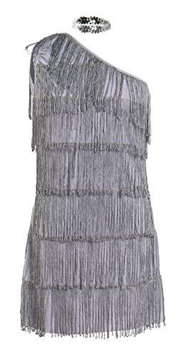 Schickes 20er Flapper Kostüm von Emma's Wardrobe – Enthält grau Fransenkleid, Haarband und weiße Federboa – Flapper Kostüm für Halloween und Auftritte – Hohe Qualität – Größen 36-44 (44)