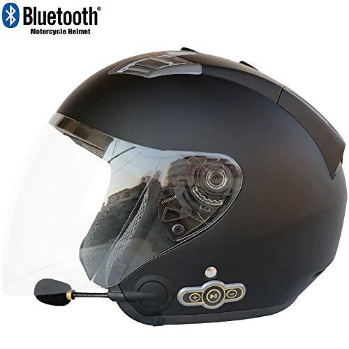 MTTKTTBD Bluetooth Motorradhelm Jethelme,Erwachsene Motocrosshelme mit Eingebautes Mikrofon für automatische Beantwortung,Motorradhelm mit Anti-Fog Doppelvisier Chopper Woofer