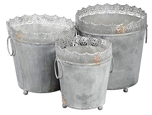 levandeo Pflanzkübel 3er Set Eisen Grau Shabby Chic Vintage Gartendeko Blumentopf Deko Kübel