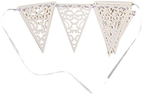 Unique Party Supplies Hochzeits-Wimpelkette mit weißen Flaggen, Spitzen-Design, 3,32m