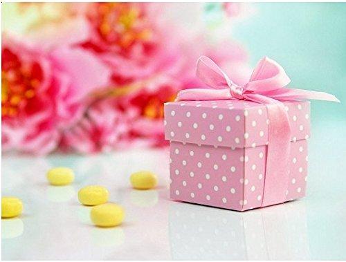 10 scatoline in cartone rosa pois bianchi 5x5x5 cm pudp5/r nastrino rosa