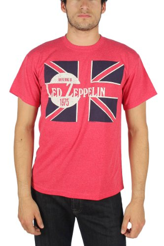 Led Zeppelin - Soirée hommes de Led Zep 1975 T-shirt d'In Red Heather -, X-Large, Red Heather