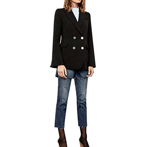 ESAILQ Femmes Vintage Formel Solide Manteau à Manches Longues Cardigan Tops Longue Section en Libre Noir