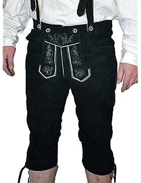 Herren-Trachtenlederhose schwarz Kniebundhose velourleder mit H-Träger AT-788