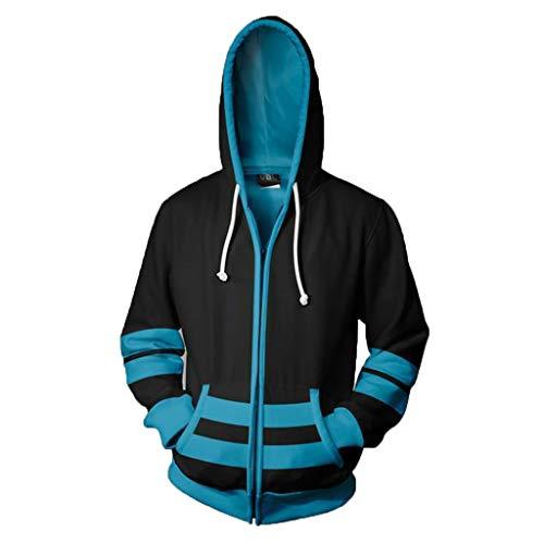 SDKHIN Alice im Wunderland 3D Print Hoodies Unisex Mode Zip Hooded Sweatshirt Herren Langarm Pullover Casual Tops,Black-L