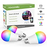 Novostella Lot de 3 Ampoule Connectée WiFi, E27 LED, 7W RGB 2700K-6500K Dimmable, Compatible avec Alexa Google Home IFTT, Lampe d'ambiance Couleur Intelligente, 600LM, APP Télécommande