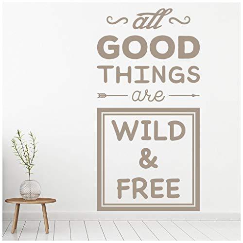azutura Wild und frei Reisezitat Wandtattoo verfügbar in 5 Größen und 25 Farben Leder Braun