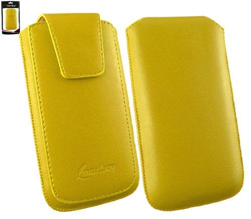 Emartbuy® Sleek Bereich Gelb Luxury PU Leder Slide in Beutel Kasten Hülsen Halter (Größe 3XL) mit magnetischer Klappen & Pull Tab Mechanism Passend für Allview P5 eMagic Smartphone