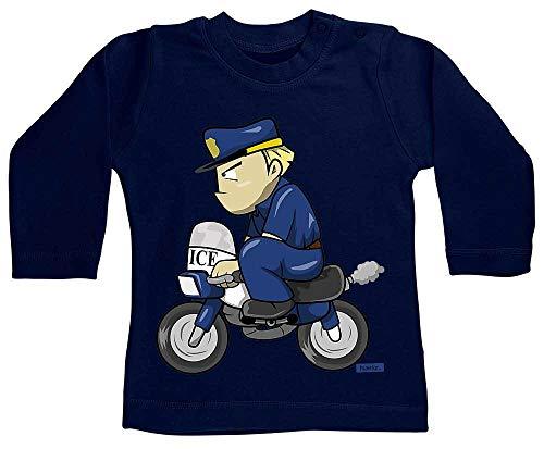 HARIZ Baby Shirt Langarm Polizist Lustig Motorrad Polizei Cops Plus Geschenkkarte Matrosen Dunkel Blau 18-24 Monate