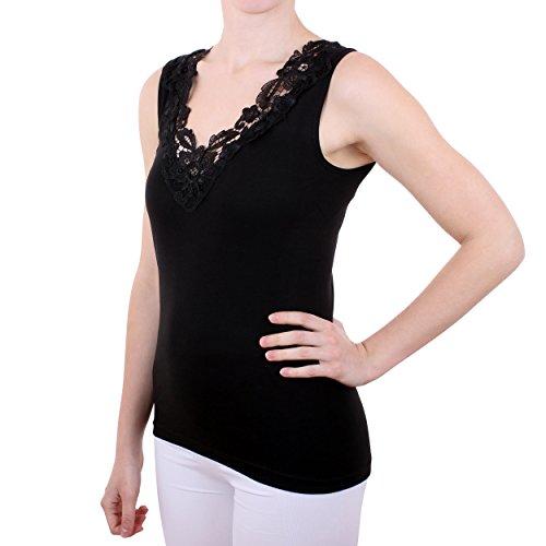 Damen Hemd mit Spitze (Shirt, Top, Unterhemd) Nr. 57/2 ( Schwarz / 56/58 ) - 2