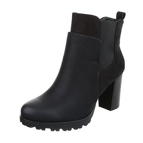 Ital-Design High Heel Stiefeletten Damen-Schuhe Schlupfstiefel Pump Moderne Stiefeletten Schwarz, Gr 38, Zy9075-