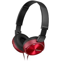 [Cable] Sony MDR-ZX310R - Auriculares de diadema cerrados (sin micrófono), rojo